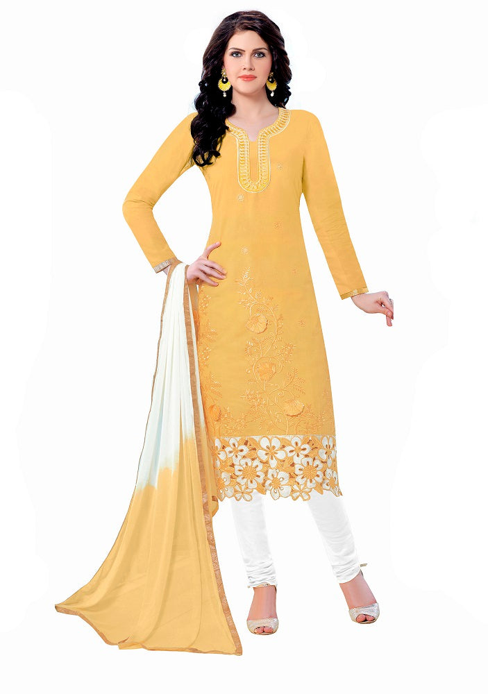 Yellow Cotton Embroidered Party Wear Salwar Suit Material