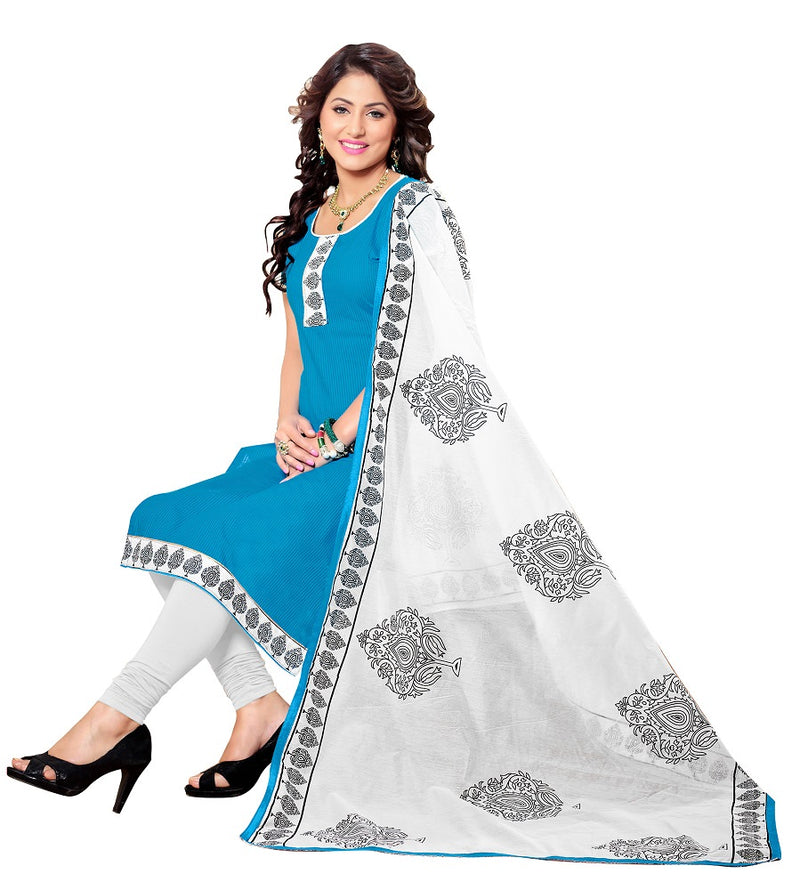 Blue Cotton Salwar suit Dress Material