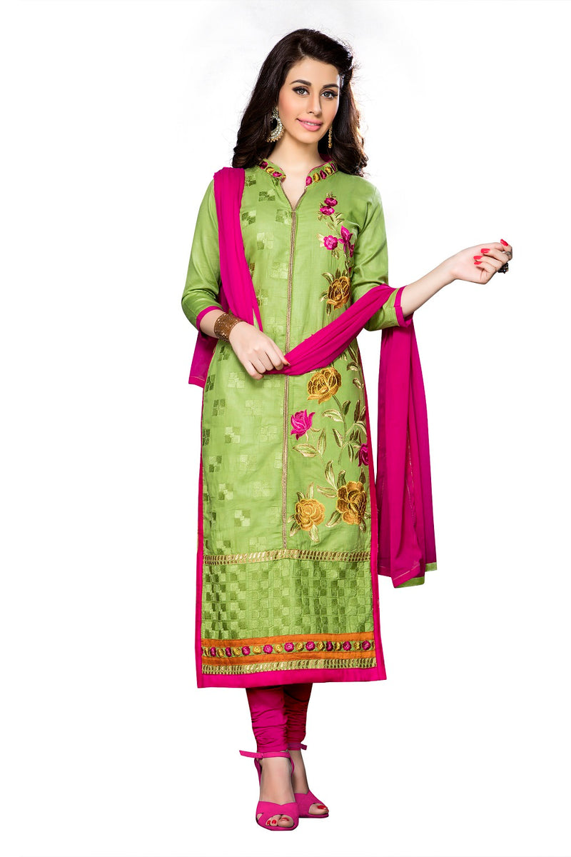 Light Green Cotton Embroidered Straight Suit Material