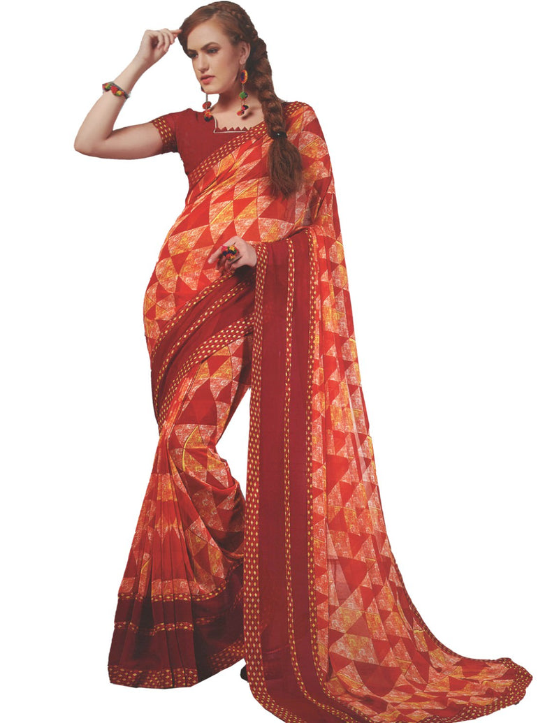 Georgette Digital Printed Saree With Blouse Red Color Saree