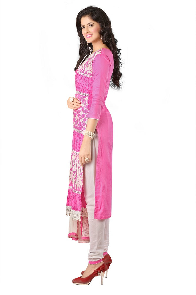 Women's Women's Cotton Embroidered Dress Material (MDMHK07 Pink)