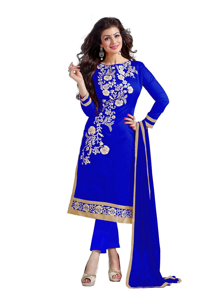 Blue Chanderi Unstitched Embroidered Dress Material
