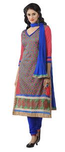 Women's Women's Cotton Embroidered Dress Material (MDMHK01 Multi color)