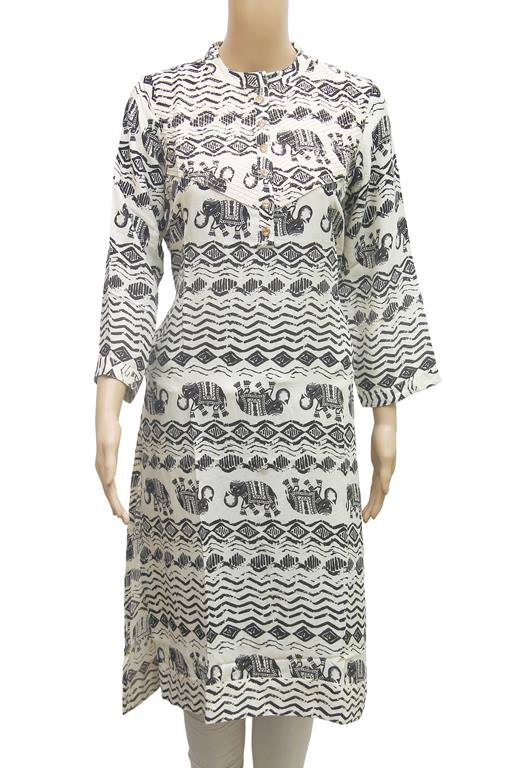 Rayon Elephant Printed Women's Kurti In White