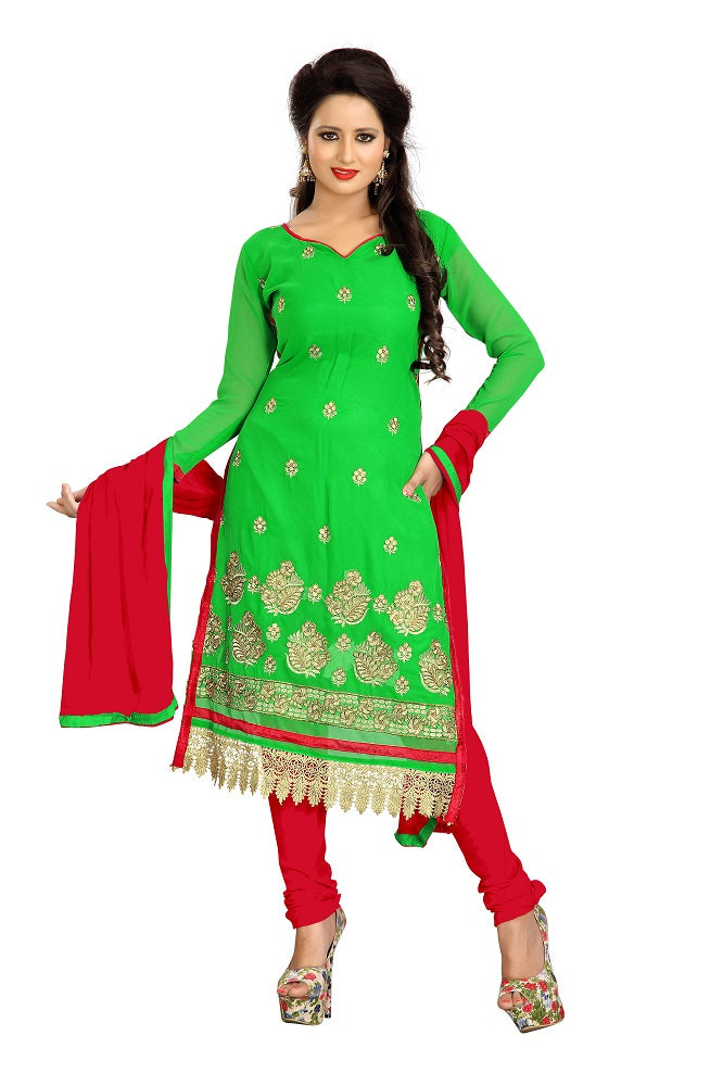 Women's Women's Georgette Embroidered Dress Material (LMAHK05 Light Green)