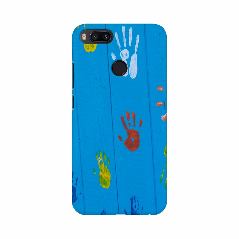 Children hand paintings  Mobile case cover Blue color redmi , samsung , apple , vivo , asus , honor , mi , iPhone , one plus