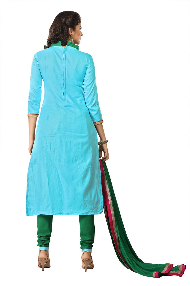 Womens Designer Light Blue Cotton Partywear Salwar Suit Dress Material For Womens