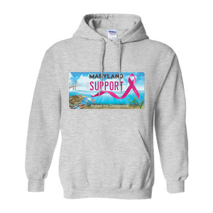 Chesapeake Bay Plate Breast Cancer Support Hoodies (No-Zip/Pullover)