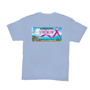 Chesapeake Bay Plate Breast Cancer Strength back logo T-Shirts