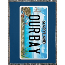 "Load image into Gallery viewer, Maryland Bay Plate ""Our Bay"" Woven Blankets"