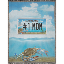 "Load image into Gallery viewer, Bay Plate ""#1 Mom"" Woven Blankets"