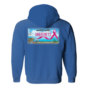 Chesapeake Bay Plate Breast Cancer Awareness back logo Hoodies (No-Zip/Pullover)