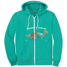 Load image into Gallery viewer, Wet Lands = Seafood/ Our Bay front and back Hoodies (Zip-up)