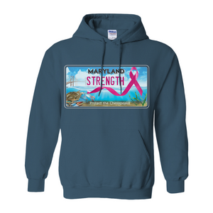 Chesapeake Bay Plate Breast Cancer Strength Hoodies (No-Zip/Pullover)