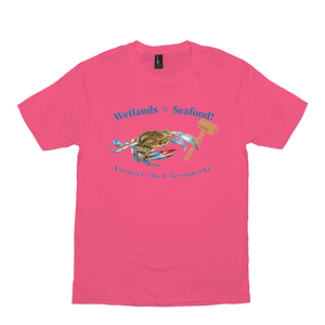Wetlands=Seafood  Bright Color T-Shirts
