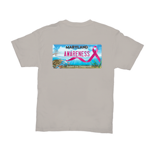 Chesapeake Bay Plate Breast Cancer Awareness back logo T-Shirts