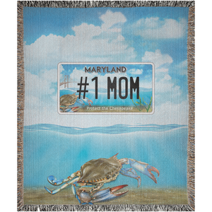 "Bay Plate ""#1 Mom"" Woven Blankets"