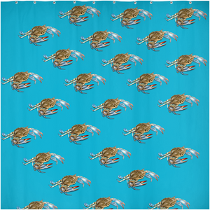 Blue Crab Shower Curtains