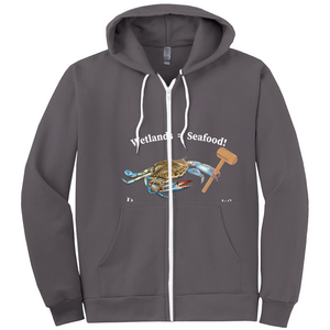 Wet Lands = Seafood/ Our Bay front and back Hoodies (Zip-up)