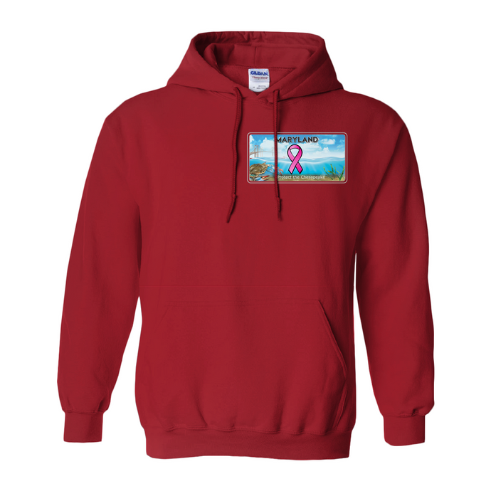 Chesapeake Bay Plate Breast Cancer Support two sided Hoodies (No-Zip/Pullover)