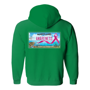 Chesapeake Bay Plate Breast Cancer Strength back logo Hoodies (No-Zip/Pullover)