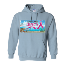 Load image into Gallery viewer, Chesapeake Bay Plate Breast Cancer Strength Hoodies (No-Zip/Pullover)