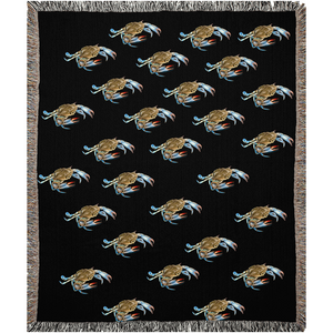 Black Maryland Crab Woven Blankets