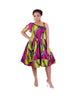 Adama African Print One Shoulders Pleated Dress