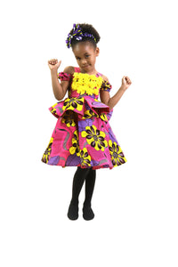 LAMIEE AFRICAN PRINT PEPLUM DRESS