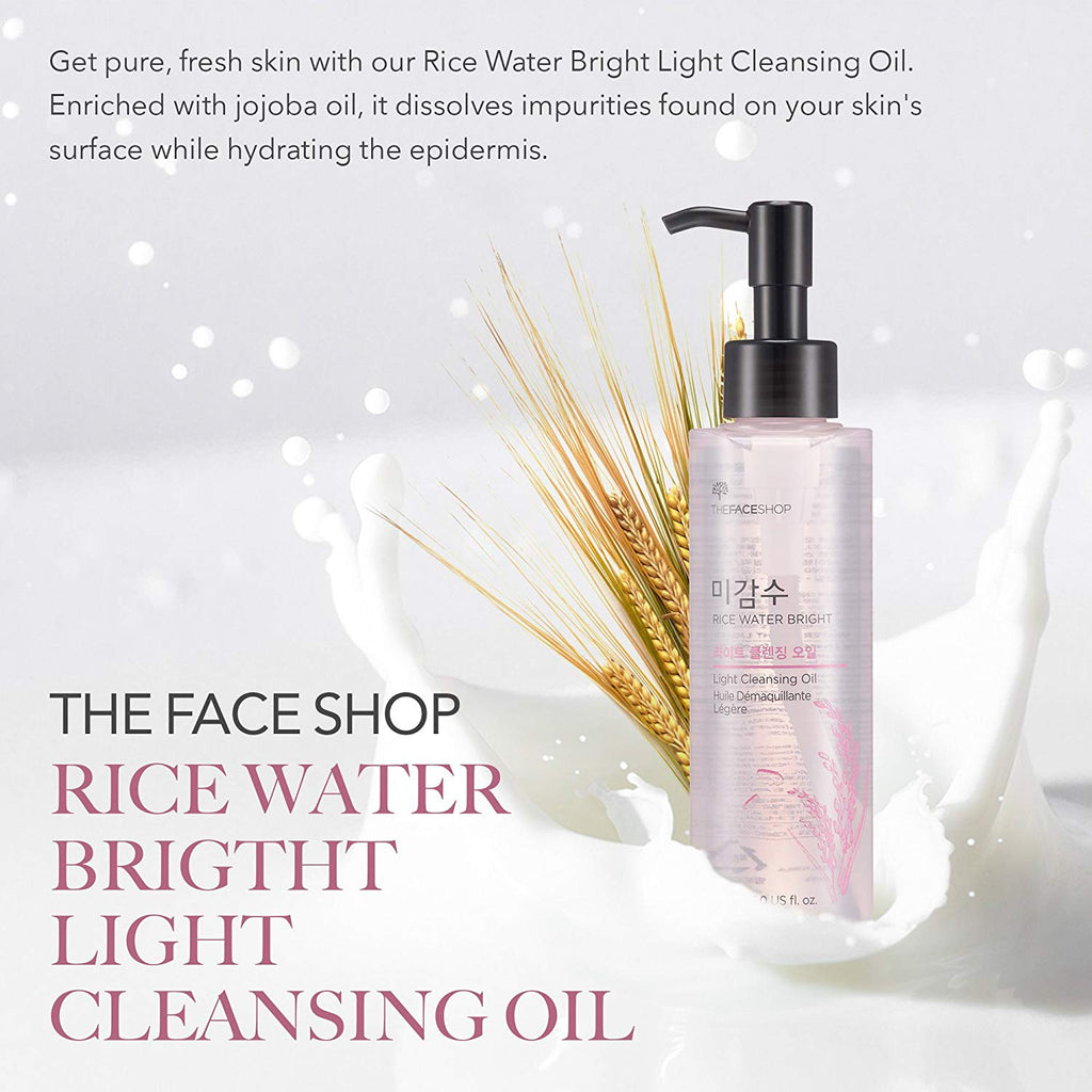 Facial Cleanser, Natural Rice Water Light Cleansing Oil