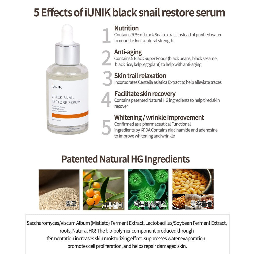 IUNIK Black Snail Restore Serum - Korean-Skincare