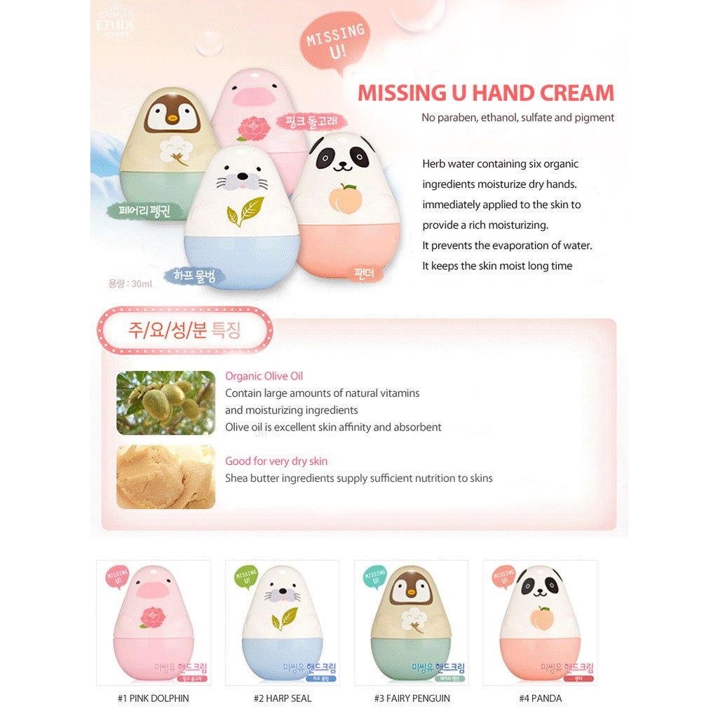 Etude House Missing U Hand Cream Pink Dolphin Story - Korean-Skincare
