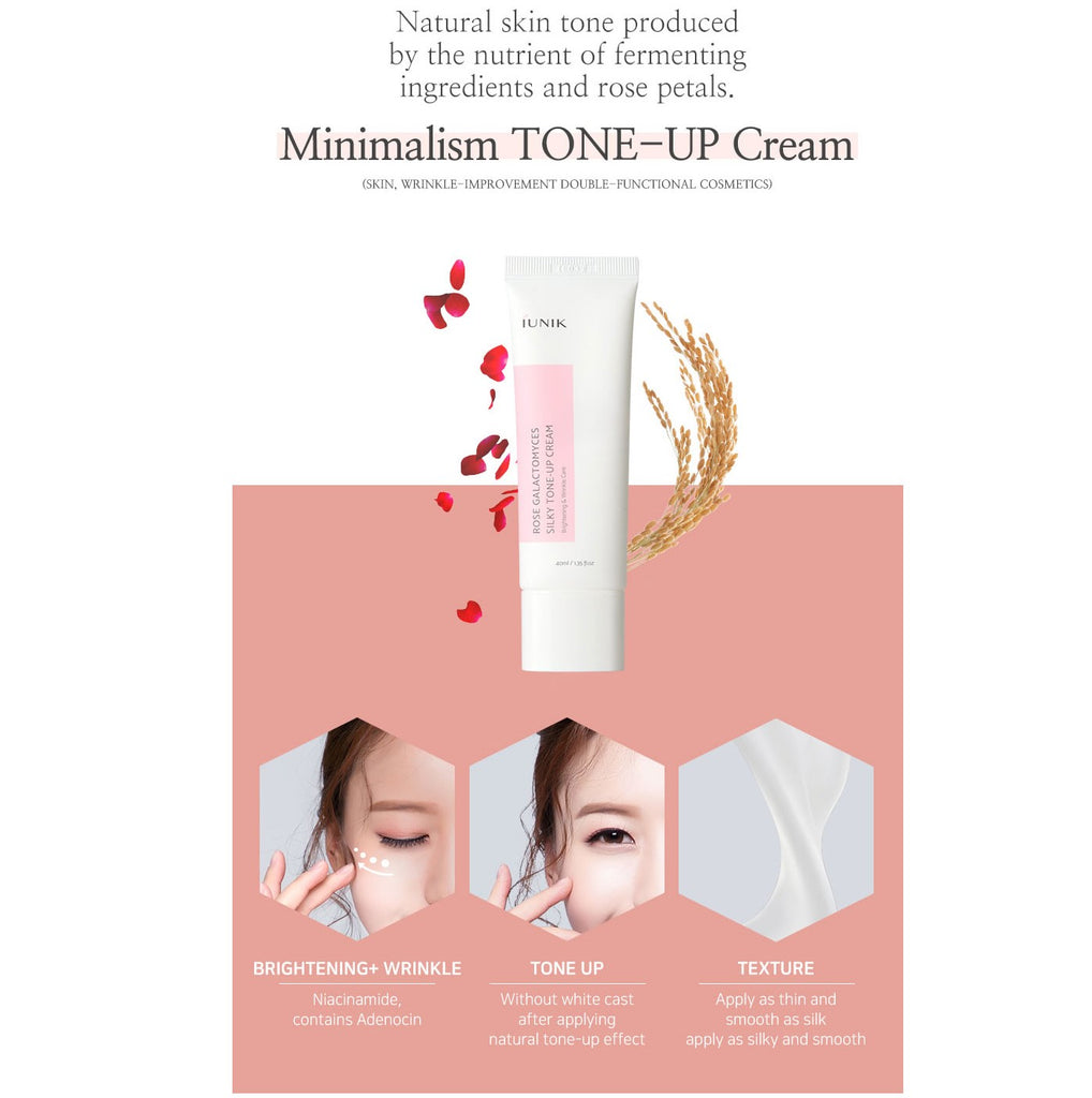 IUNIK Rose Galactomyces Silky Tone Up Cream - Korean-Skincare