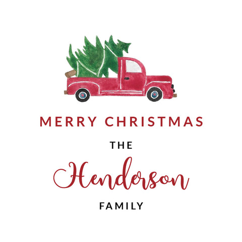 Watercolor Truck with Christmas Tree Tiny Tag