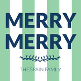 """Merry Merry"" Navy and Mint {tag/sticker/hangtag}"