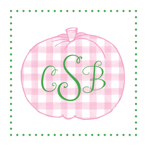 Pink Gingham Pumpkin with monogram