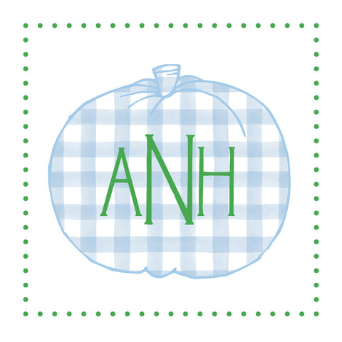 Blue Gingham Pumpkin with monogram