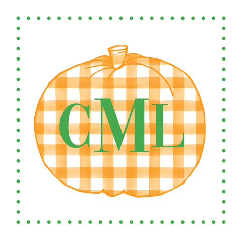 Orange Gingham Pumpkin with monogram