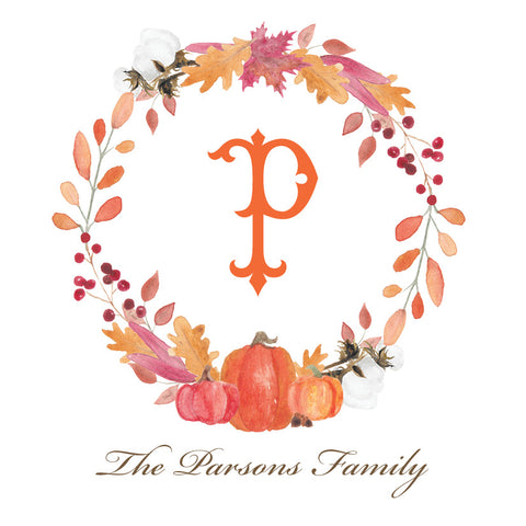 Fall Wreath with Single Letter Monogram