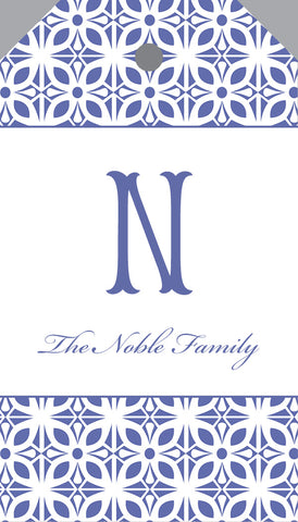 Single Letter Monogram French Blue Hangtag {double sided}