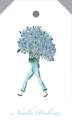 Girl with hydrangeas {hangtag}