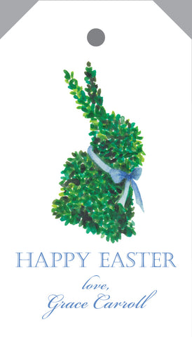 "Watercolor Boxwood Bunny ""Happy Easter"" Hang Tag"