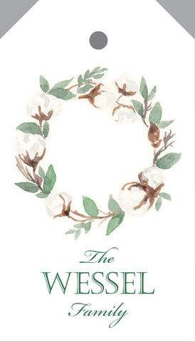 Watercolor cotton wreath hangtag