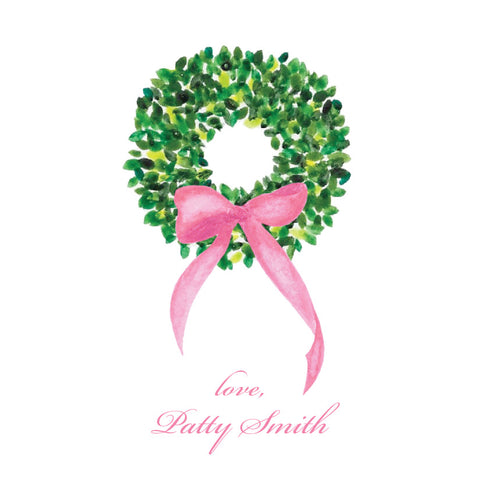 Watercolor Boxwood Wreath {pink bow}