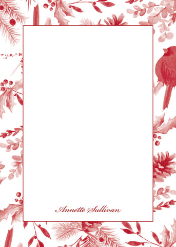 Red Toile Notecard