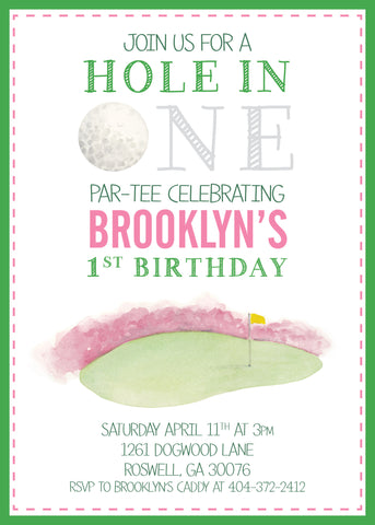 Tiny Tag Golf Invitation-blue and pink color ways available
