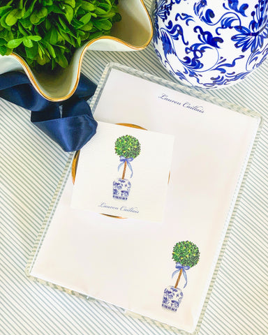 Chinoiserie + Boxwood Topiary Gift Set