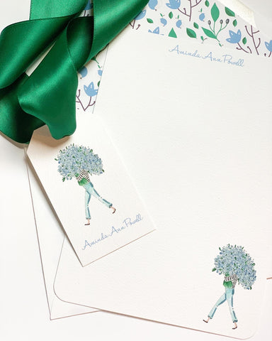 Blue Hydrangea Girl Notecard