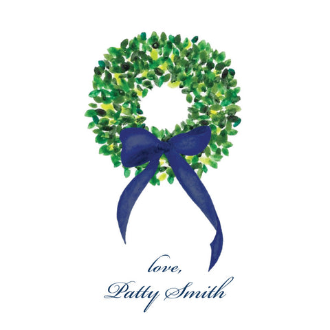 Watercolor Boxwood Wreath {navy bow}