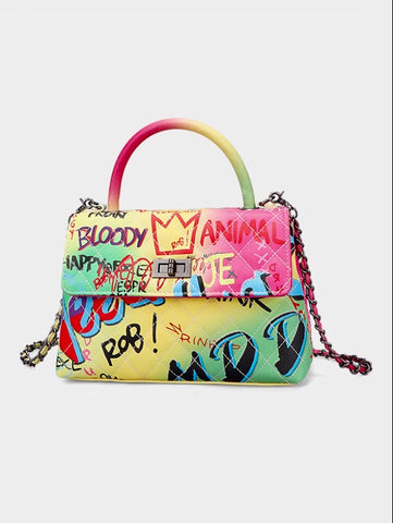Rainbow graffiti Handbag w/Long Chain Strap